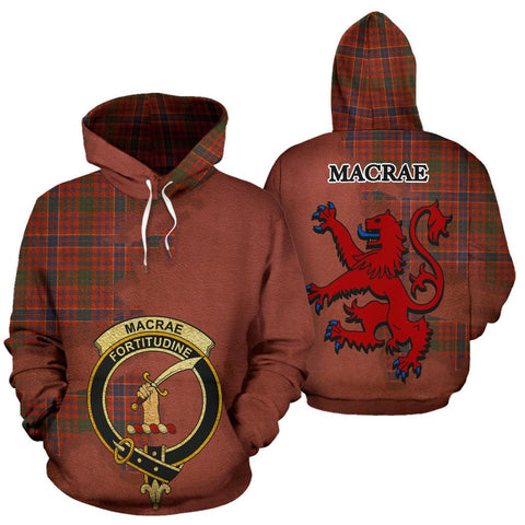 Tartan Hoodie - Clan MacRae Ancient Crest & Plaid Hoodie - Scottish Lion & Map - Royal Style