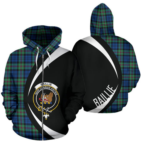 Tartan Zip Up Hoodie - Clan Baillie Ancient Zip Up Hoodie - Circle Style Unisex