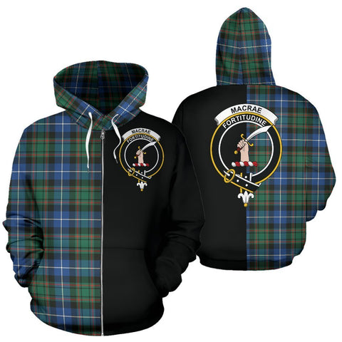 Custom Hoodie - Clan MacRae Hunting Ancient Plaid Tartan Zip Up Hoodie Design Your Own - Half Of Me Style - Unisex Sizing