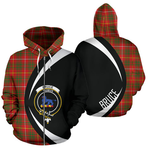 Image of ScottishShop Tartan Zip Up Hoodie - Clan Bruce Modern Hoodie - Circle Style