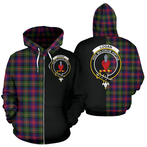 Image of Logan Modern Tartan Zip Up Hoodie Half Of Me - Black & Tartan