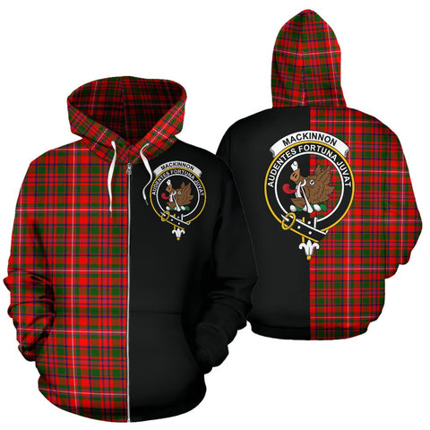 Image of MacKinnon Modern Tartan Zip Up Hoodie Half Of Me - Black & Tartan