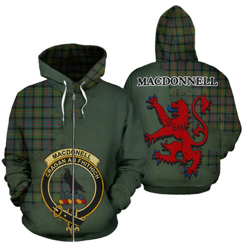 Tartan Hoodie - Clan MacDonnell of Glengarry Ancient Crest & Plaid Zip-Up Hoodie - Scottish Lion & Map - Royal Style