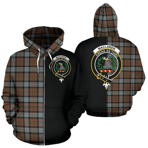 Custom Hoodie - Clan MacLaren Weathered Plaid Tartan Zip Up Hoodie Design Your Own - Half Of Me Style - Unisex Sizing