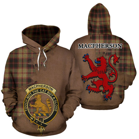 Tartan Hoodie - Clan MacPherson Hunting Ancient Crest & Plaid Hoodie - Scottish Lion & Map - Royal Style