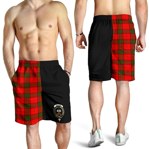 Tartan Mens Shorts - Clan Maxtone Crest & Plaid Shorts - Half Of Me Style