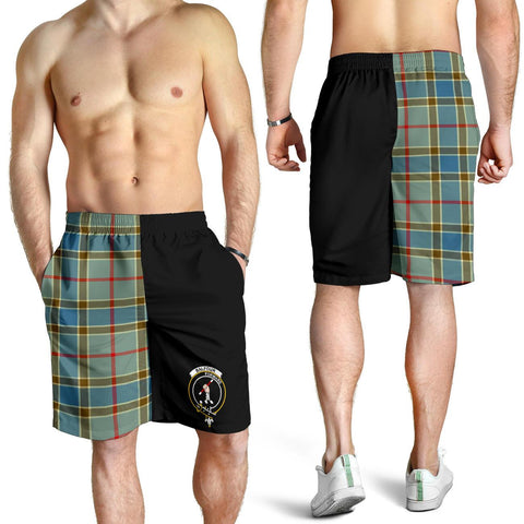 Tartan Mens Shorts - Clan Balfour Blue Crest & Plaid Shorts - Half Of Me Style