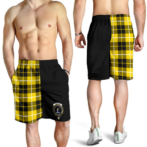 Image of Tartan Mens Shorts - Clan Barclay Crest & Plaid Shorts - Half Of Me Style