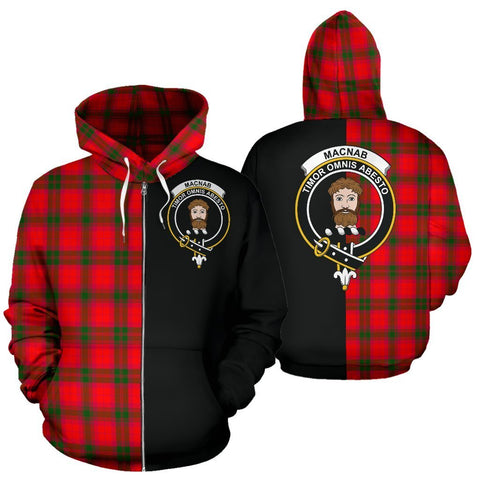 Image of Custom Hoodie - Clan MacNab Modern Plaid Tartan Zip Up Hoodie Design Your Own - Half Of Me Style - Unisex Sizing
