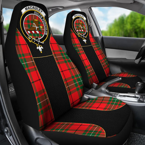 ScottishShop Seat Cover - Tartan Crest Macauley Tartan Car Seat Cover Clan Badge - Special Version - Universal Fit