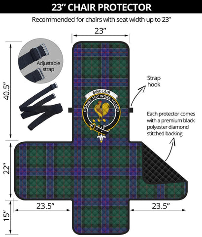 Image of Clan Sinclair Hunting Modern Plaid & Crest Tartan Sofa Protector - 23 Inches