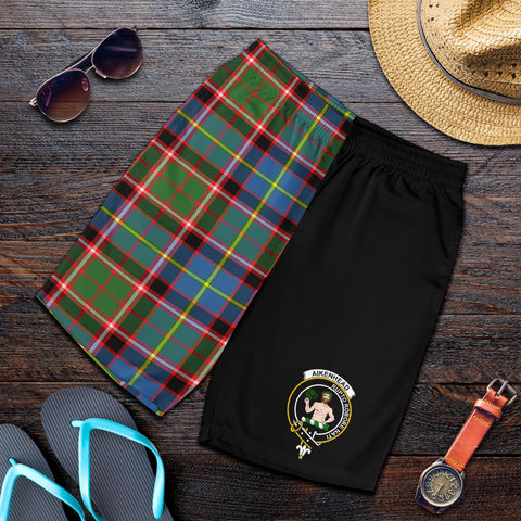 Tartan Mens Shorts - Clan Aikenhead Crest & Plaid Shorts - Half Of Me Style