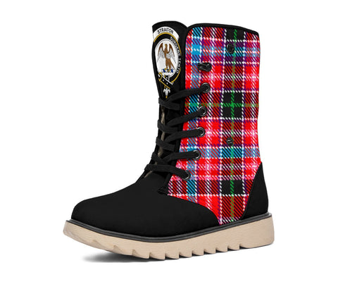 Snow Boots - Clan Tartan Straiton Plaid Boots - Crest On Tongue Style