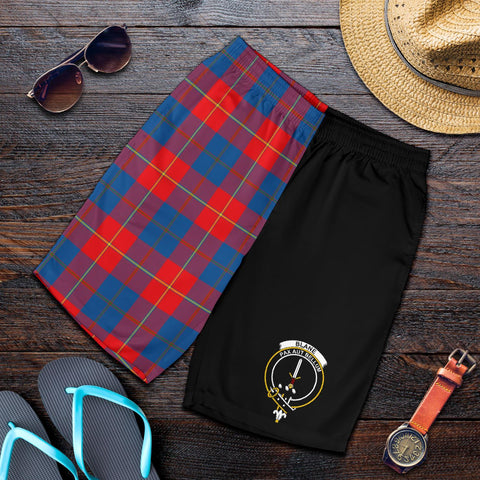 Image of Tartan Mens Shorts - Clan Blane Crest & Plaid Shorts - Half Of Me Style