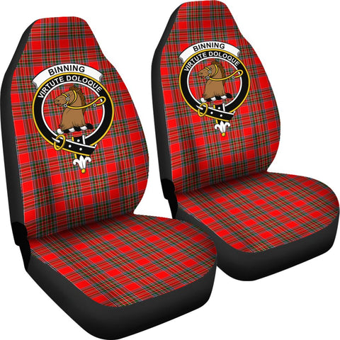 ScottishShop Seat Cover - Tartan Crest Binning Car Seat Cover Clan Badge - Universal Fit