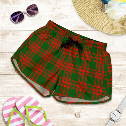 ScottishShop Menzies Green Modern Tartan Shorts For Women