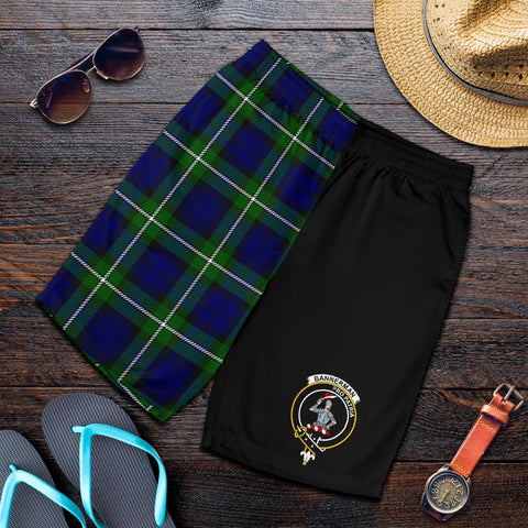 Tartan Mens Shorts - Clan Bannerman Crest & Plaid Shorts - Half Of Me Style
