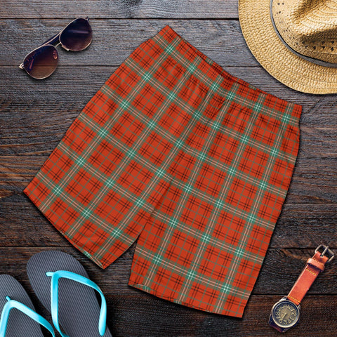 Tartan Mens Shorts - Clan Morrison Red Ancient Plaid Shorts