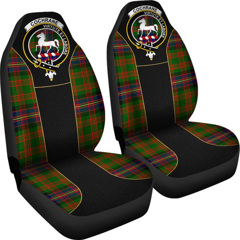 ScottishShop Seat Cover - Tartan Crest Cochrane Tartan Car Seat Cover Clan Badge - Special Version - Universal Fit