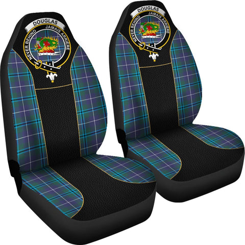 Image of ScottishShop Seat Cover - Tartan Crest Douglas Tartan Car Seat Cover Clan Badge - Special Version - Universal Fit