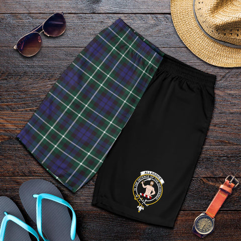 Image of Tartan Mens Shorts - Clan Allardice Crest & Plaid Shorts - Half Of Me Style
