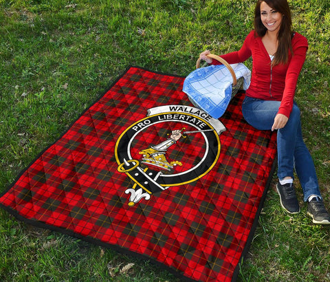 Premium Quilt - Wallace Weathered Tartan Quilt - Clan Crest TH8