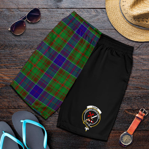 Tartan Mens Shorts - Clan Adam Crest & Plaid Shorts - Half Of Me Style