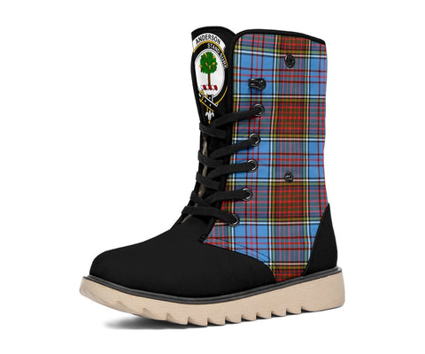 Snow Boots - Clan Tartan Anderson Plaid Boots - Crest On Tongue Style