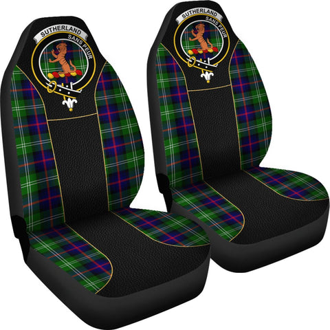ScottishShop Seat Cover - Tartan Crest Sutherland Ii Tartan Car Seat Cover Clan Badge - Special Version - Universal Fit