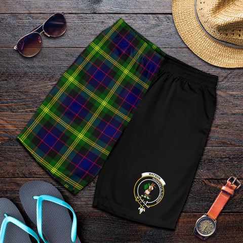 Tartan Mens Shorts - Clan Watson Crest & Plaid Shorts - Half Of Me Style