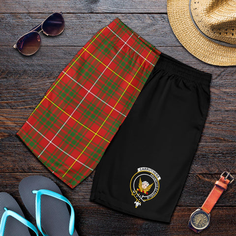 Tartan Mens Shorts - Clan Carruthers Crest & Plaid Shorts - Half Of Me Style