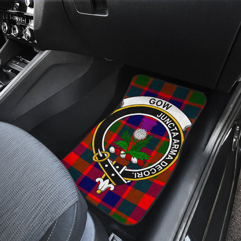 Car Floor Mats - Clan Gow Of Skeoch Crest And Plaid Tartan Car Mats - 4 Pieces