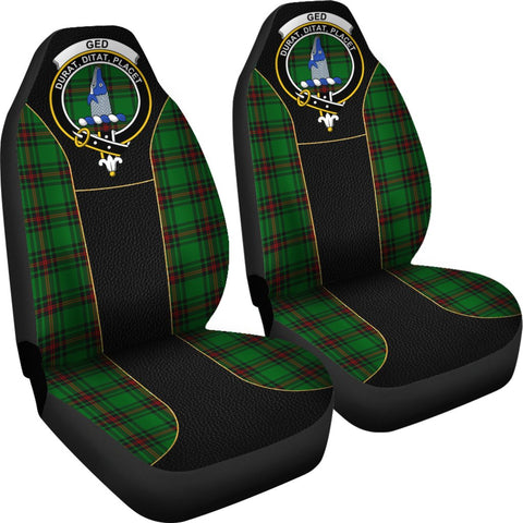 ScottishShop Seat Cover - Tartan Crest Ged Tartan Car Seat Cover Clan Badge - Special Version - Universal Fit