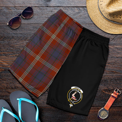 Image of Tartan Mens Shorts - Clan Ainslie Crest & Plaid Shorts - Half Of Me Style
