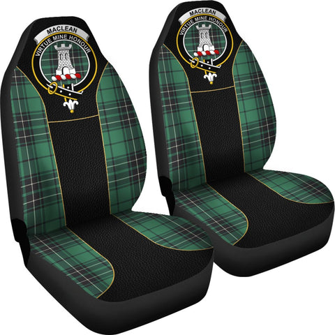 ScottishShop Seat Cover - Tartan Crest Maclean Tartan Car Seat Cover Clan Badge - Special Version - Universal Fit
