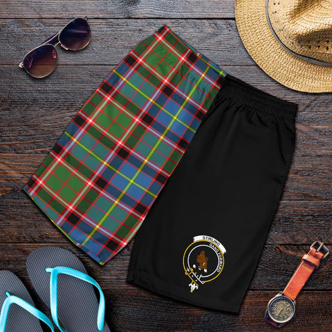 Tartan Mens Shorts - Clan Stirling of Keir Crest & Plaid Shorts - Half Of Me Style