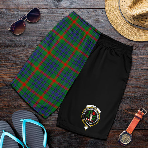 Tartan Mens Shorts - Clan Aiton Crest & Plaid Shorts - Half Of Me Style