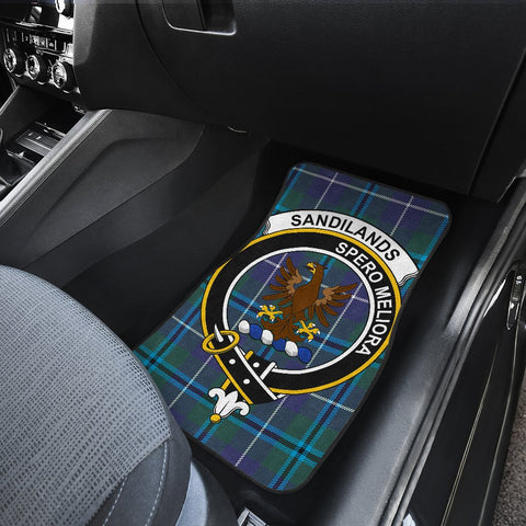 Car Floor Mats - Clan Sandilands Crest And Plaid Tartan Car Mats - 4 Pieces