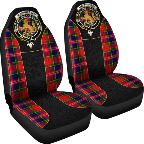 ScottishShop Seat Cover - Tartan Crest Macpherson (Chief) Tartan Car Seat Cover Clan Badge - Special Version - Universal Fit