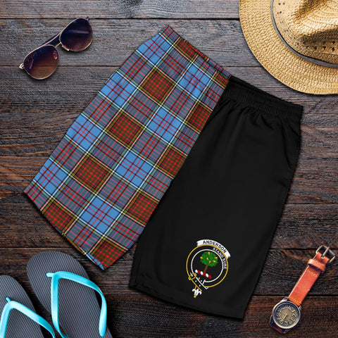 Image of Tartan Mens Shorts - Clan Anderson Crest & Plaid Shorts - Half Of Me Style