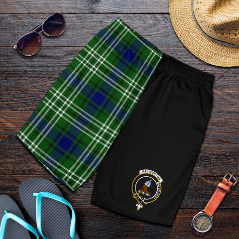 Tartan Mens Shorts - Clan Haliburton Crest & Plaid Shorts - Half Of Me Style