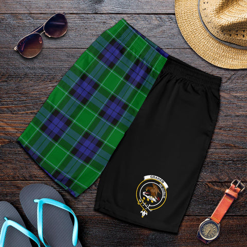 Tartan Mens Shorts - Clan Graham of Menteith Modern Crest & Plaid Shorts - Half Of Me Style