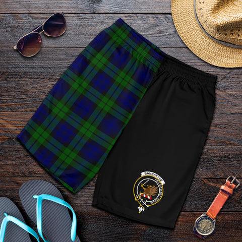 Tartan Mens Shorts - Clan Bannatyne Crest & Plaid Shorts - Half Of Me Style