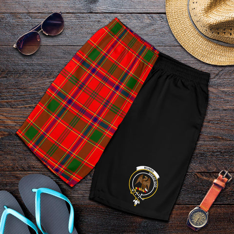 Tartan Mens Shorts - Clan Munro Crest & Plaid Shorts - Half Of Me Style
