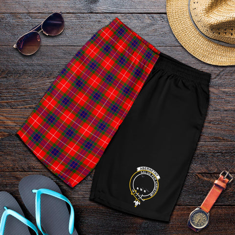 Image of Tartan Mens Shorts - Clan Abernethy Crest & Plaid Shorts - Half Of Me Style