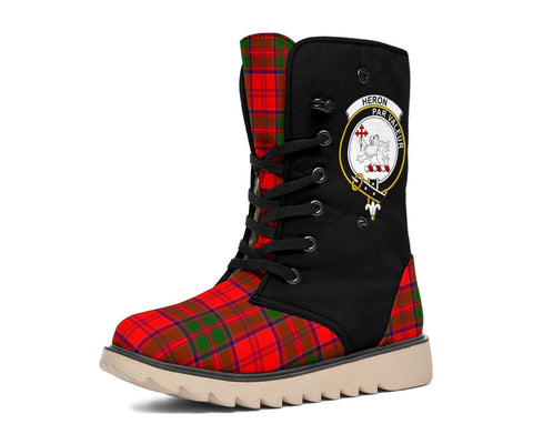 Image of Tartan Women's Snow Boots - Clan Heron Boots Side Crest - BN