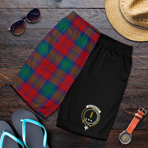 Tartan Mens Shorts - Clan Auchinleck Crest & Plaid Shorts - Half Of Me Style