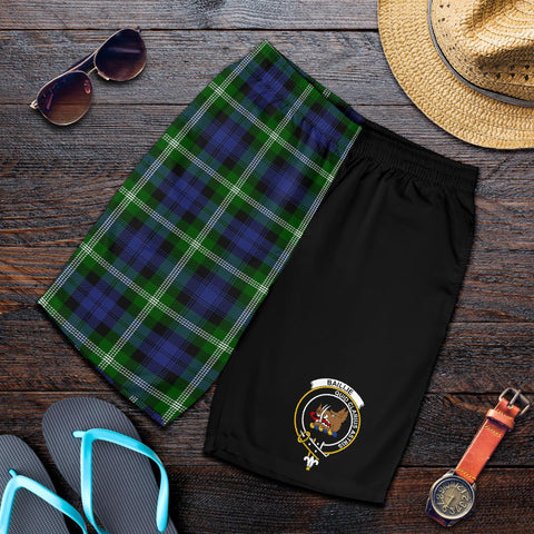 Tartan Mens Shorts - Clan Baillie Crest & Plaid Shorts - Half Of Me Style