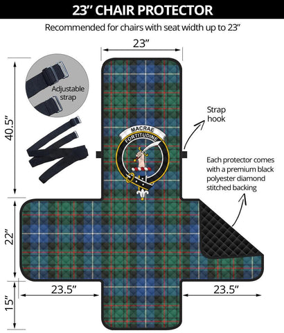 Clan MacRae Hunting Ancient Plaid & Crest Tartan Sofa Protector - 23 Inches