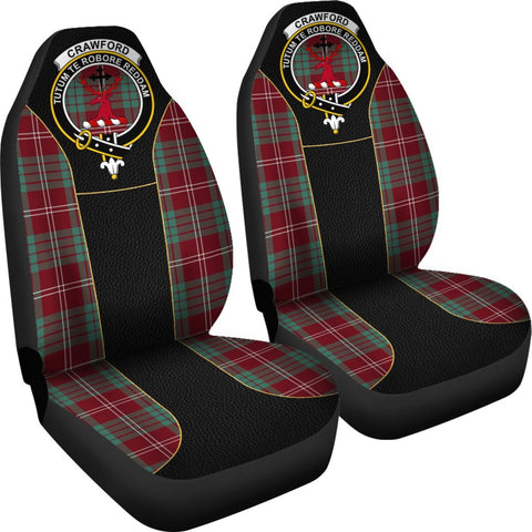 ScottishShop Seat Cover - Tartan Crest Crawford Tartan Car Seat Cover Clan Badge - Special Version - Universal Fit